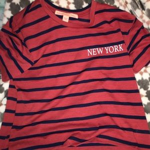 Red and blue striped t-shirt